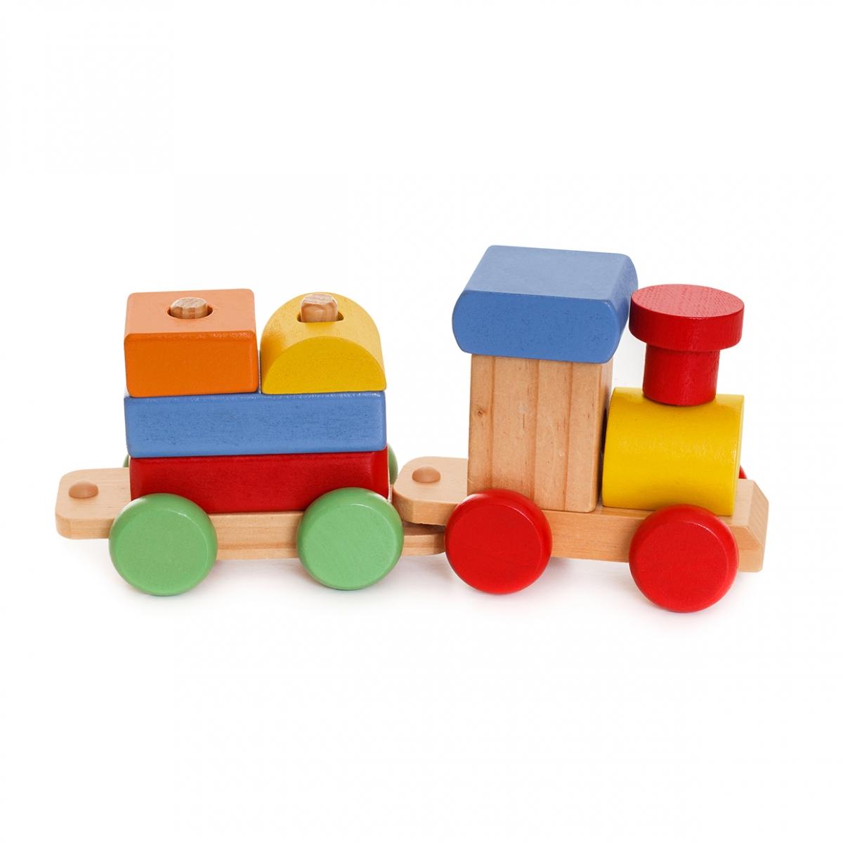 Imagen en la que se ve un tren de juguete compuesto por bloques de madera