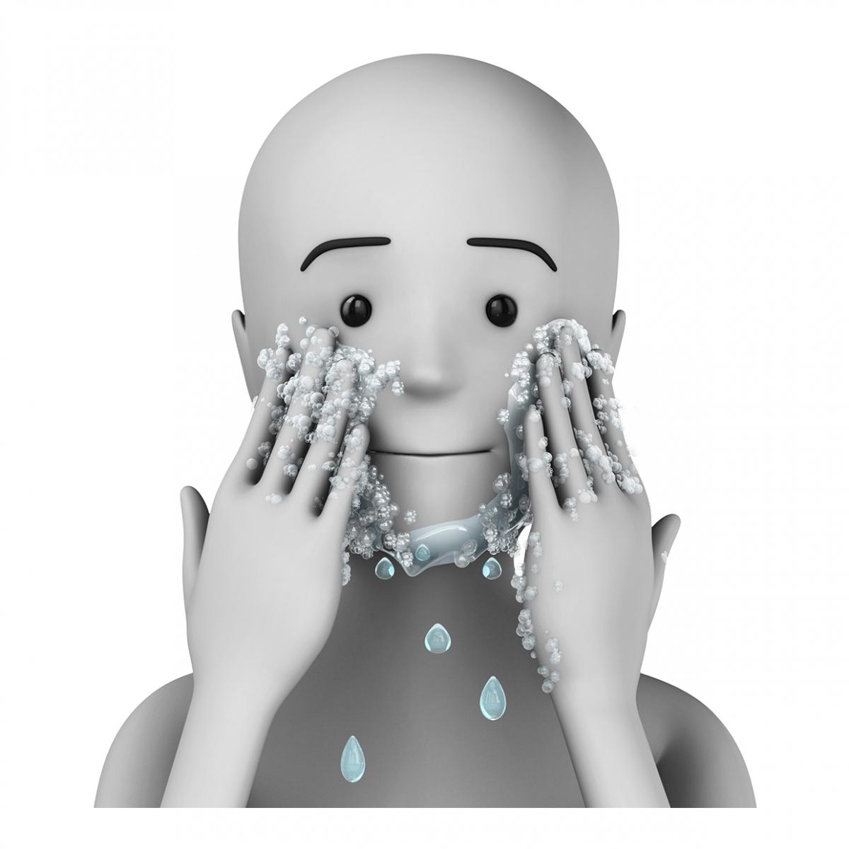 Imagen en la que se ve una persona lavándose la cara