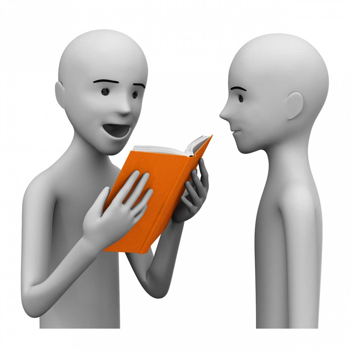 Imagen en la que se ve a una persona leyendo un libro a otra persona