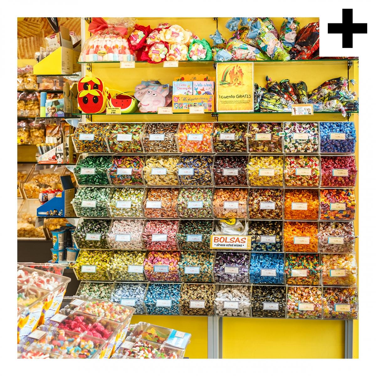 Imagen en la que se ve el plural del concepto tienda de caramelos