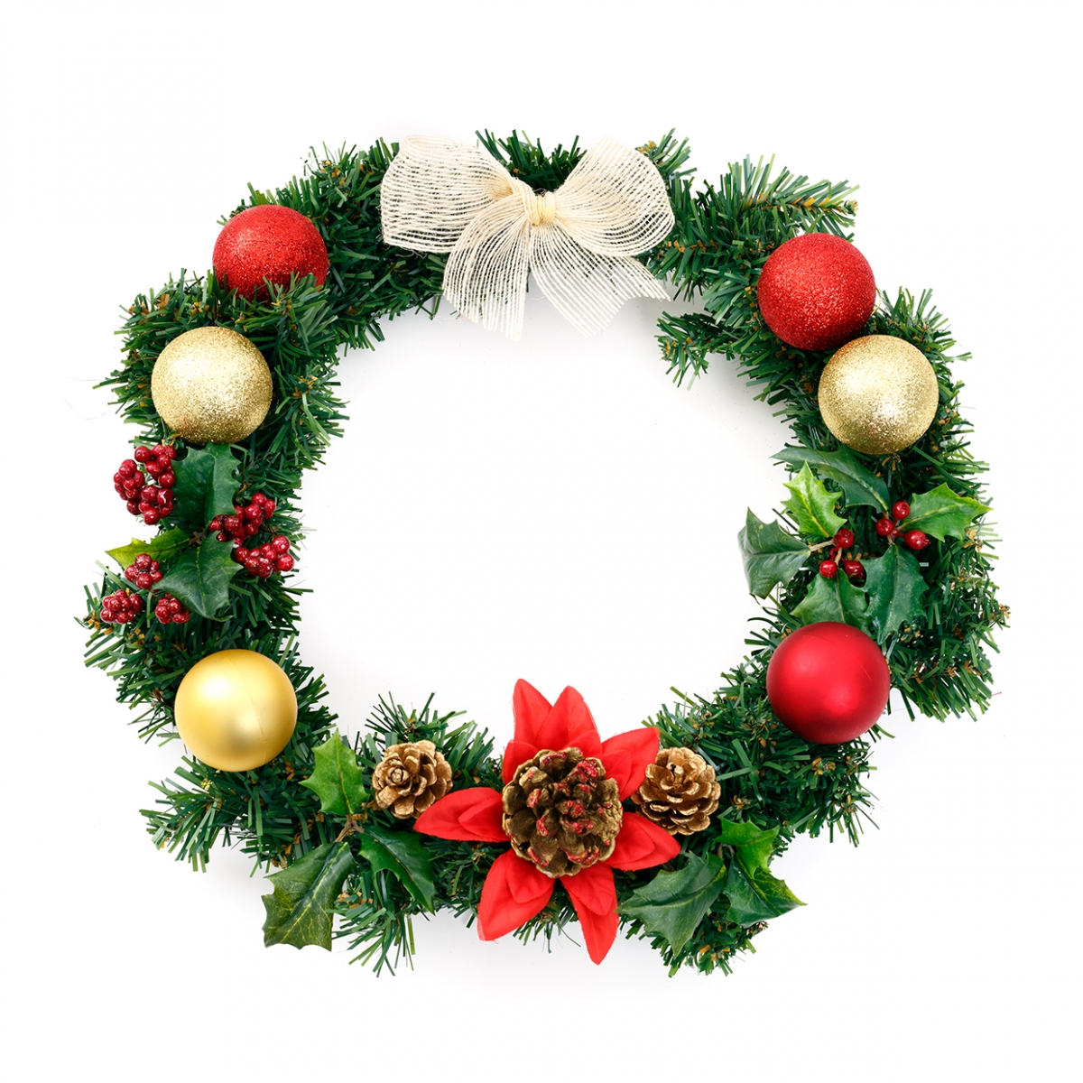 Imagen en la que se ve una corona de flores de Navidad