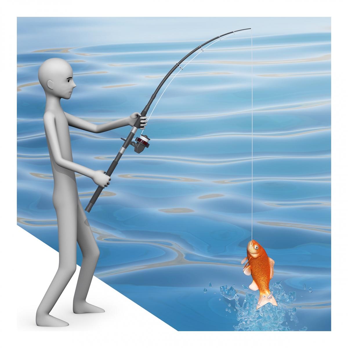 Persona pescando un pez con una caña