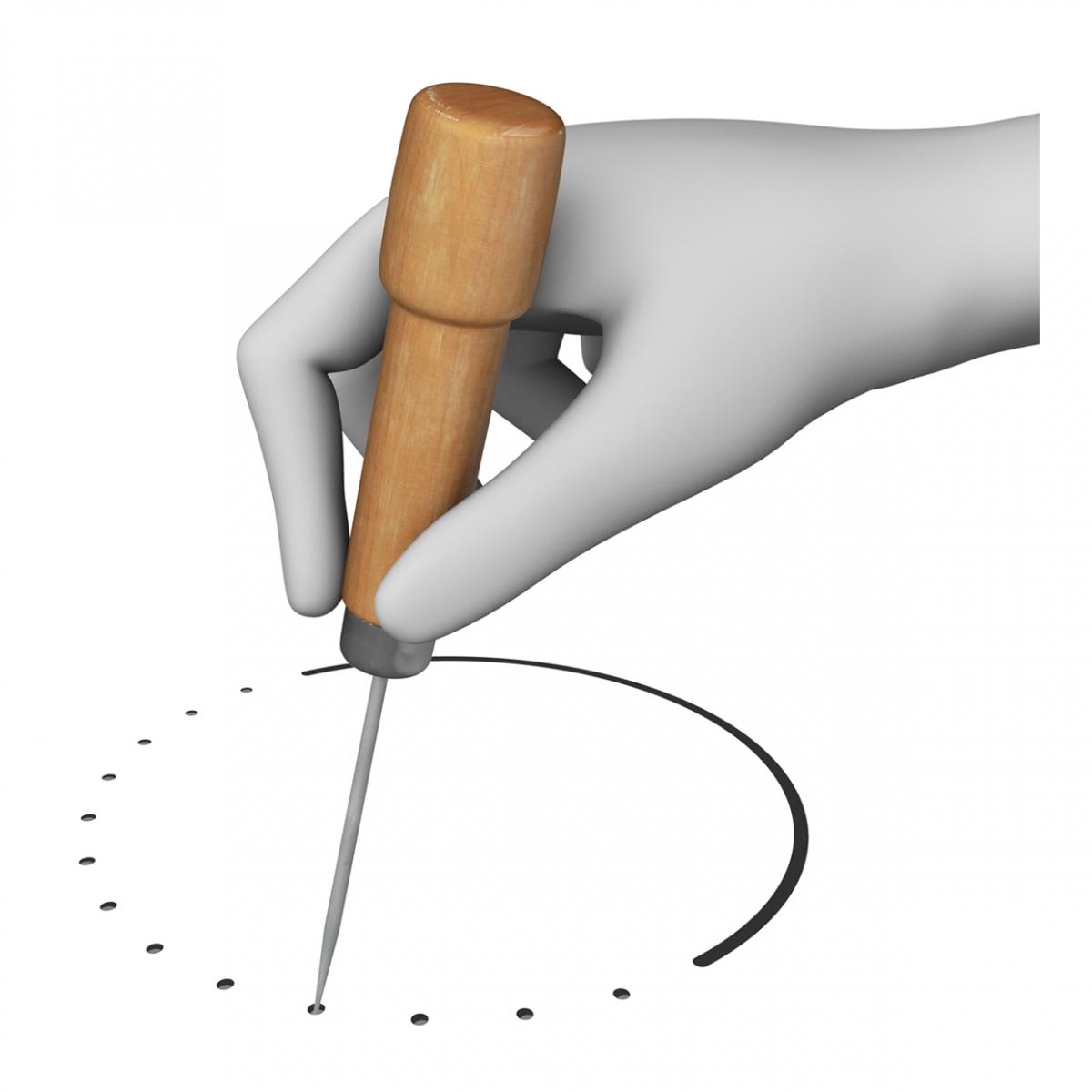Imagen en la que una mano está picando una superficie con un punzón