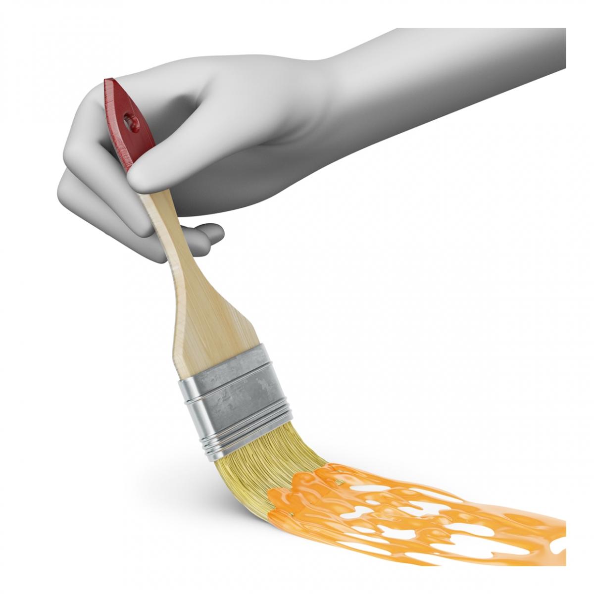 Imagen en la que se ve una mano pintando un color con brocha