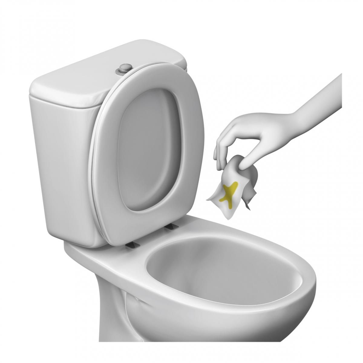 Imagen de la acción tirar el papel higiénico al váter