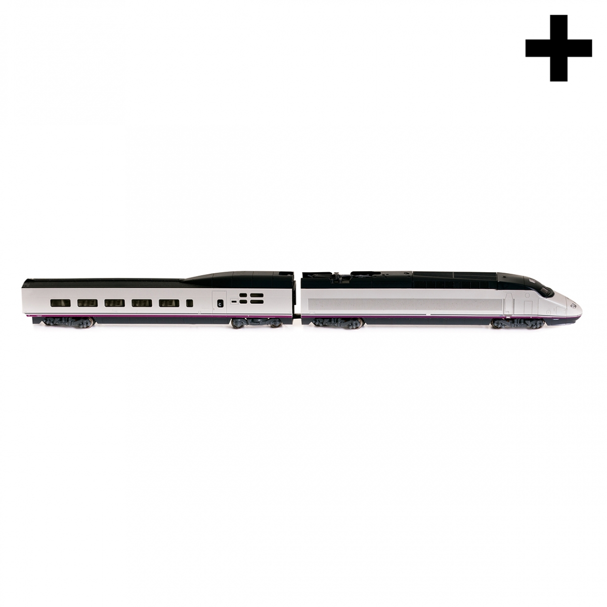 Imagen en la que se un tren de alta velocidad en perspectiva lateral