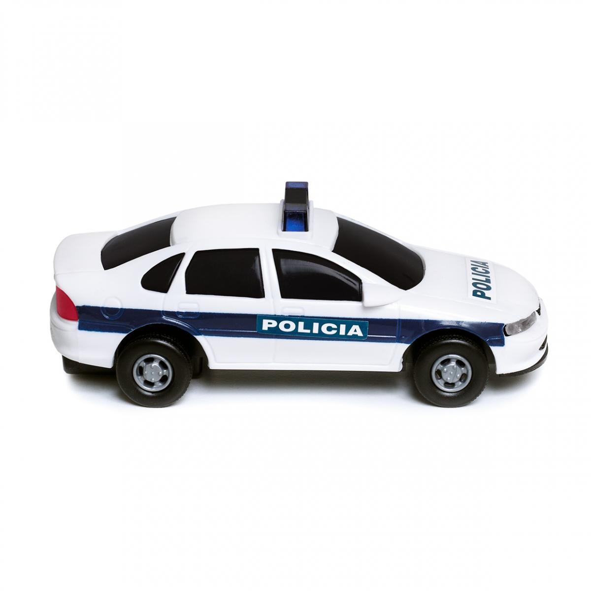 Imagen en la que se ve un coche de policía en perspectiva lateral