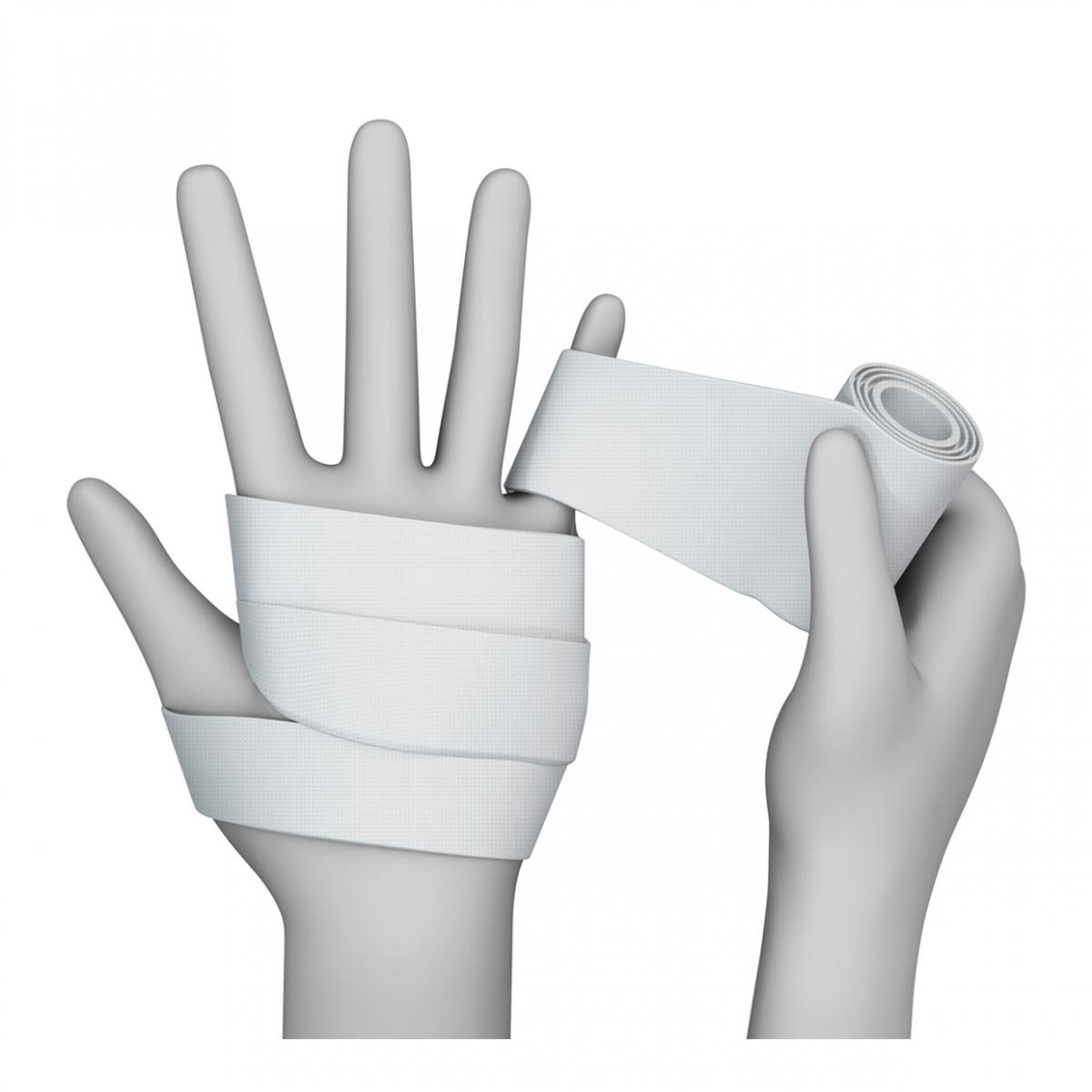 Imagen en la que una mano está vendando a otra