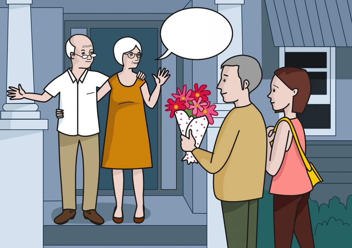 Los abuelos invitan al papá y a la mamá a conocer su casa