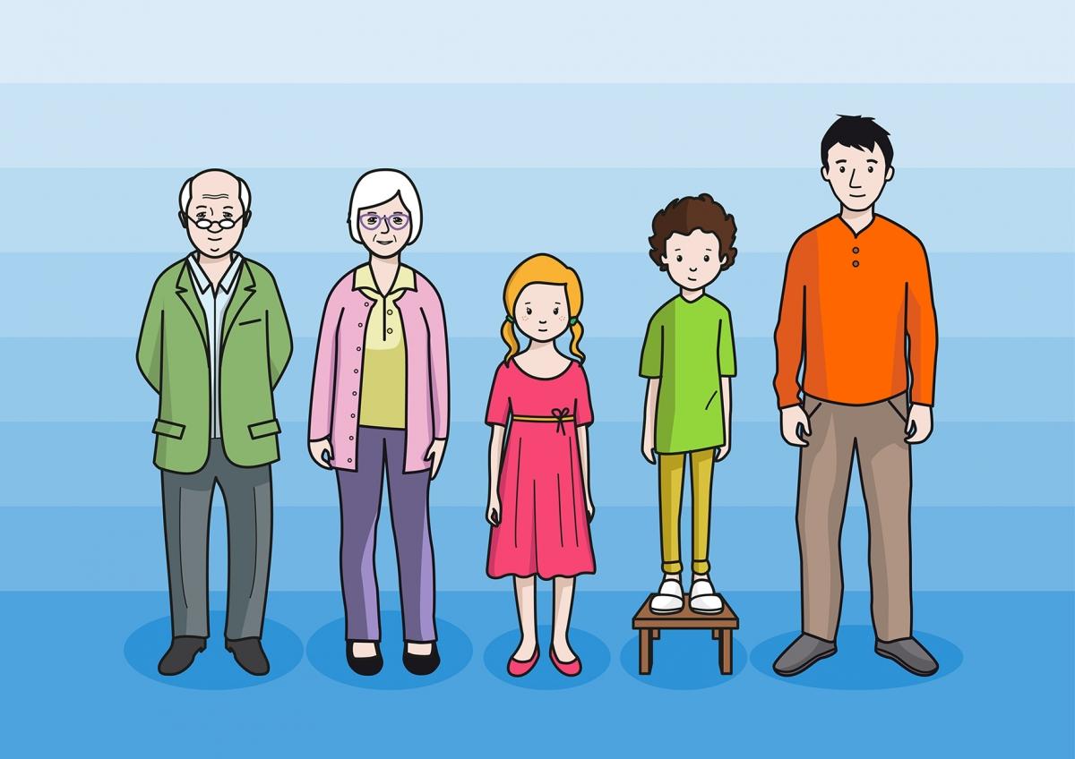 La altura de las personas de una familia