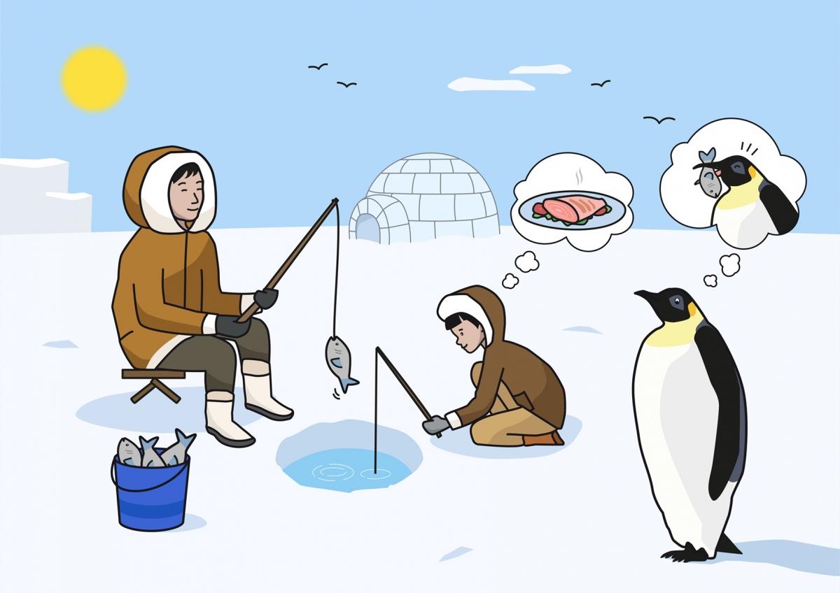 Lámina ilustrada en la que aparecen dos esquimales pescando