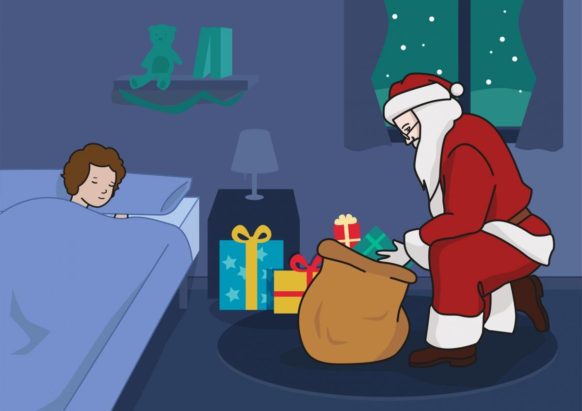 Papá Noel reparte regalos en Navidad