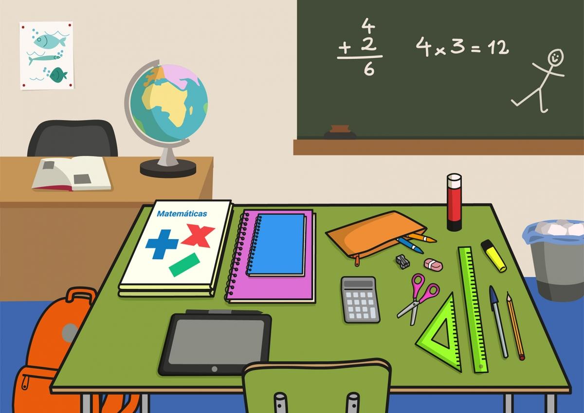 Escena en la que se ve una mesa de colegio con material escolar