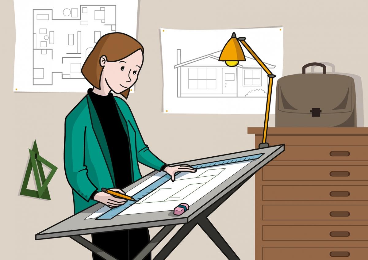 La mamá dibuja una casa en el despacho