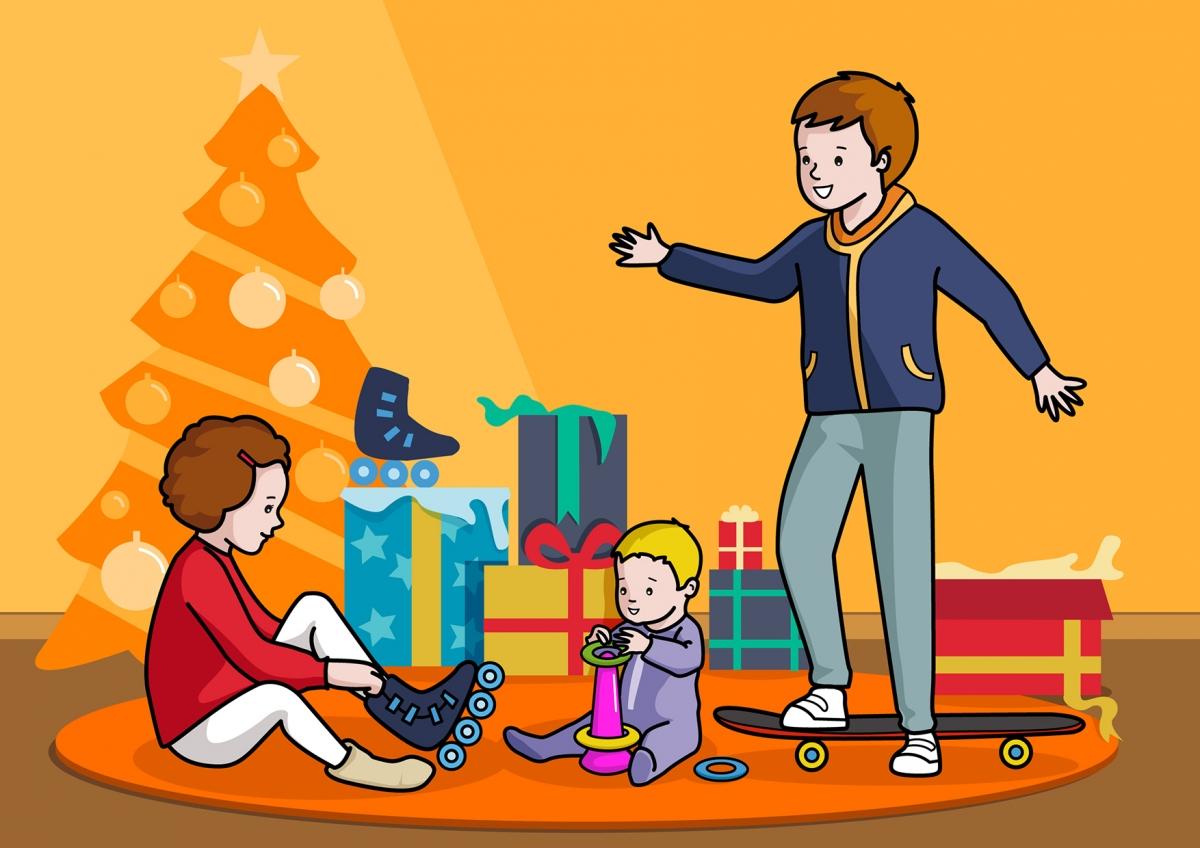 Escena en la que se ve a unos niños jugando con los regalos de Navidad