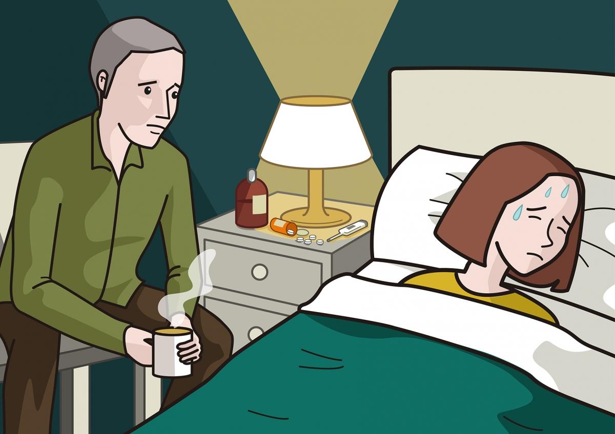 Escena en la que se ve a una mamá enferma en la cama