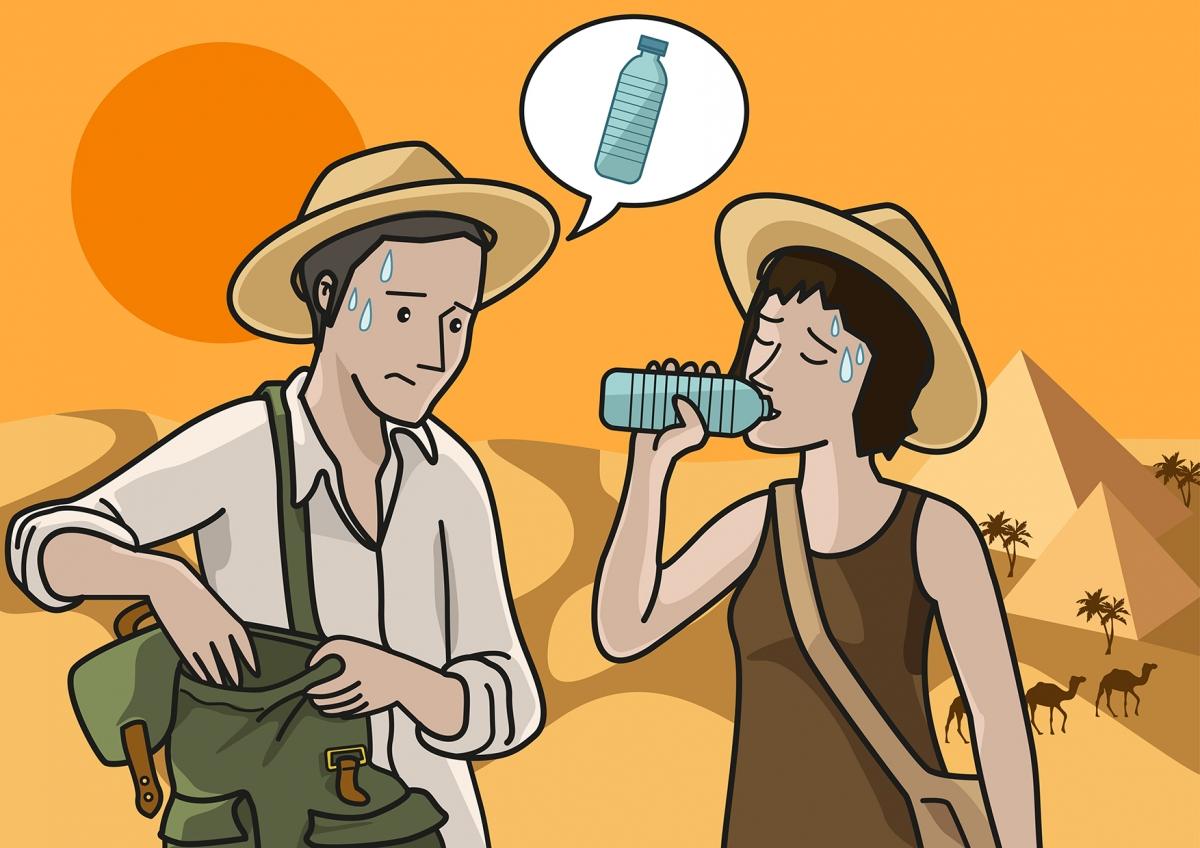 Escena en la que se ve al papá sediento y a la mamá bebiendo agua