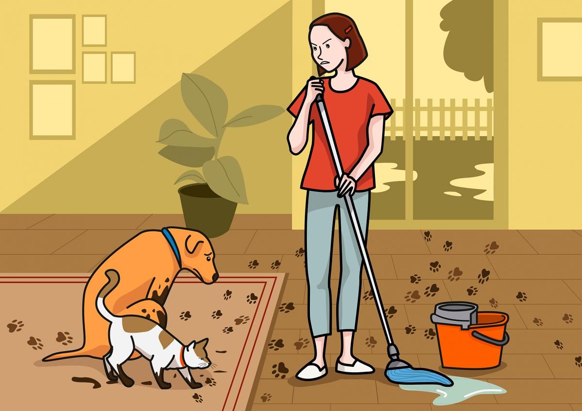 Escena en la que una mamá sale fregando el suelo
