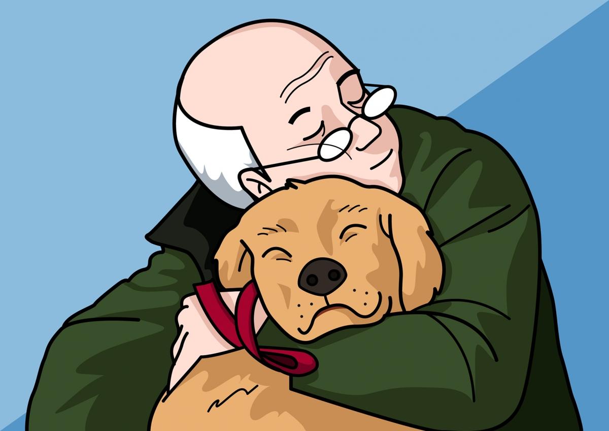 El abuelo quiere al perro