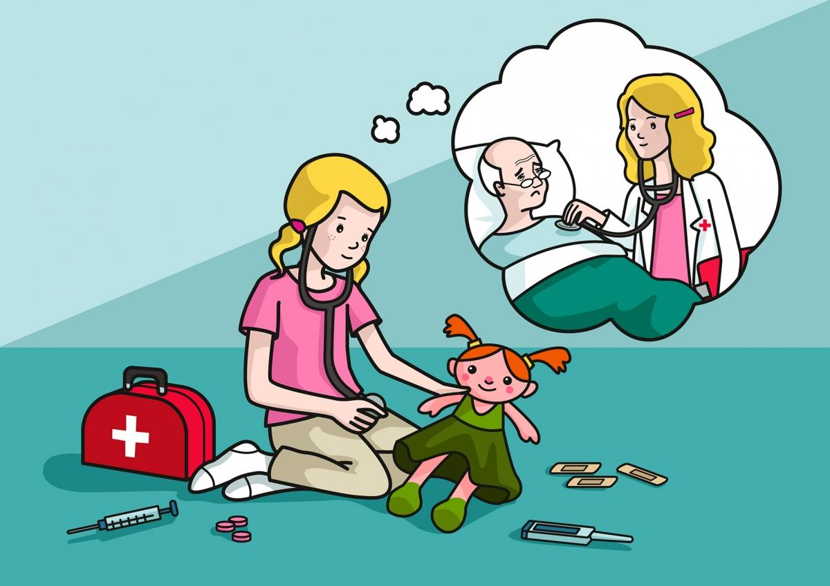 La niña piensa que de mayor será médica