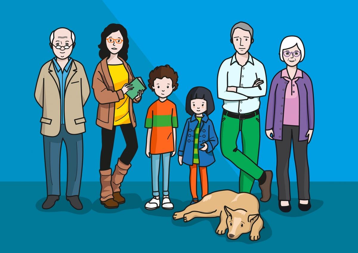 En la imagen, se observa a una familia compuesta por el padre, la madre, una niña, un niños y los abuelos. En primer plano, se observa tumbado a un perro, que es una de las mascotas de la familia.
