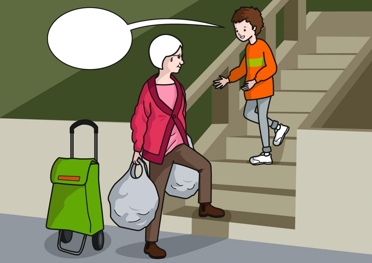 El niño ayuda a la señora a subir la compra