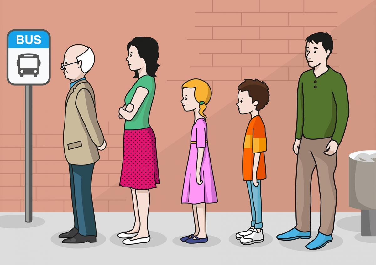 Imagen que representa una fila de personas esperando el autobús