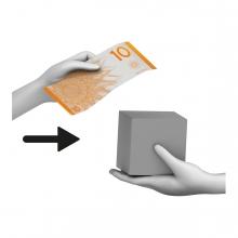 Imagen en la que se ve una mano dando un billete a cambio de un producto