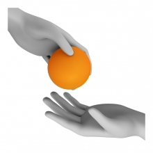 Imagen en la que se ve una mano dándole un objeto a otra