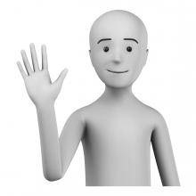Imagen en la que aparece una persona saludando