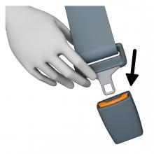 Imagen del verbo abrochar cinturón de seguridad de un vehículo