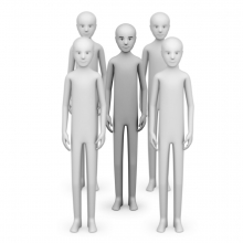 Imagen en la que se ve una persona rodeada de más personas