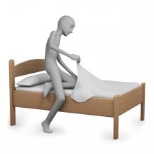 Imagen del verbo acostarse en la cama