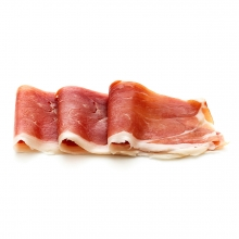 Imagen en la que se ven unas lonchas de jamón dobladas por la mitad y dispuestas de modo consecutivo