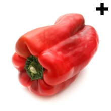 Imagen en la que se ve un pimiento rojo entero tumbado