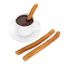 Imagen en la que se ve un chocolate con churros