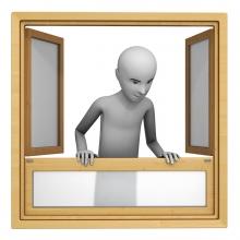 Imagen en la que se ve una persona asomada a la ventana