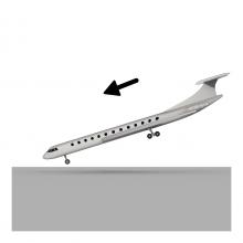 Imagen en la que se ve un avión aterrizando