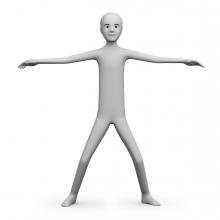 Imagen en la que aparece una persona en posición de brazos en cruz
