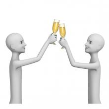 Dos personas brindan con copas
