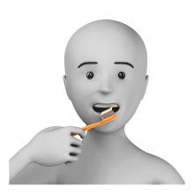 Imagen en la que se ve a una persona cepillándose los dientes