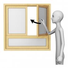 Imagen en la que aparece una persona cerrando una ventana