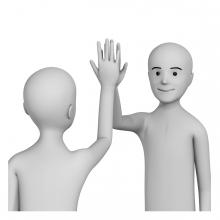 Imagen del verbo chocar los cinco