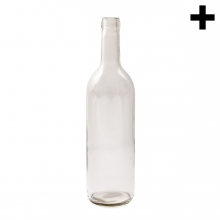 Imagen en la que se ve una botella de cristal blanco vacía