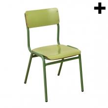 Imagen en la que aparece el plural del concepto silla de colegio