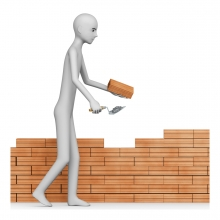 Imagen en la que aparece una persona construyendo una pared