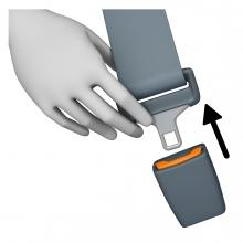 Imagen del verbo desabrochar cinturón de seguridad de un vehículo