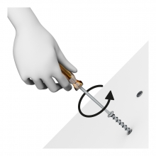 Imagen en la que una mano está desatornillando un tornillo con un destornillador