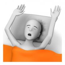 Imagen en la que una persona está despertándose