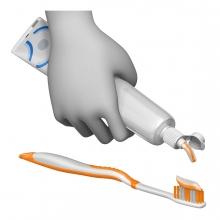 Imagen de la acción echar pasta de dientes